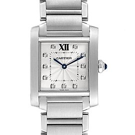 Cartier Tank Francaise Midsize Diamond Steel Ladies Watch WE110007