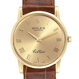 Rolex Cellini Classic 18k Yellow Gold Roman Dial Brown Strap Watch 5116