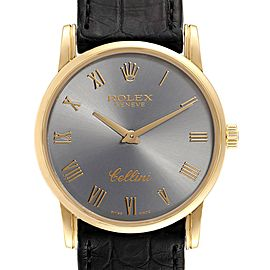 Rolex Cellini Classic Yellow Gold Slate Roman Dial Watch 5116 Box Papers
