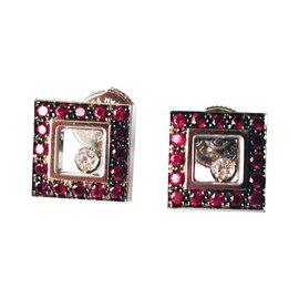 Chopard 18K White Gold Ruby & Diamond Square Earrings