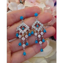 18K White Gold Turquoise 2.84ctw Diamond Chandelier Drop Earrings
