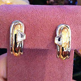 Platinum 18K Yellow Gold Diamond Hoop Earrings