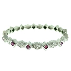 Doris Panos 18K White Gold Juliette Stackable Ruby & Diamond Bracelet