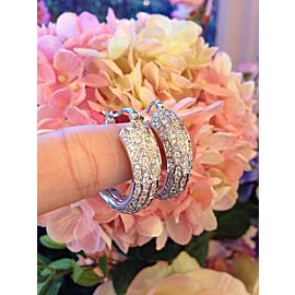 Odelia 18K White Gold 2.01ctw Diamond Hoop Earrings