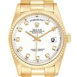 Rolex President Day-Date Yellow Gold Diamond Dial Mens Watch 118238