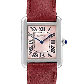 Cartier Tank Solo Pink Dial Red Strap Steel Ladies Watch 3170