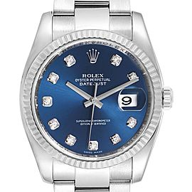 Rolex Datejust Steel White Gold Blue Diamond Dial Mens Watch 116234