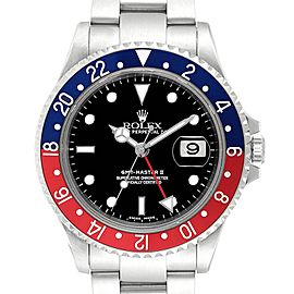 Rolex GMT Master II 3 Coke Pepsi Black Bezel Mens Watch 16710 Box Papers