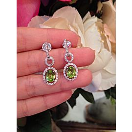 18K White Gold Peridot 0.72ctw Diamond Drop Earrings
