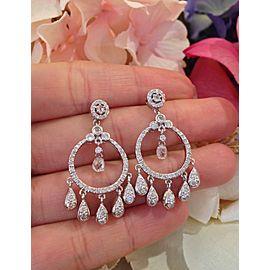 18K White Gold 2.82ctw Diamond Chandelier Drop Earrings