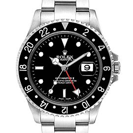 Rolex GMT Master II Black Bezel Red Hand Mens Watch 16710 Box