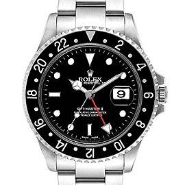 Rolex GMT Master II Black Bezel Red Hand Mens Watch 16710 Box