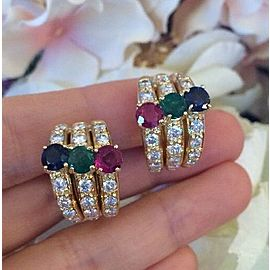 18K Yellow Gold Emerald Ruby Sapphire 3.00ctw Diamond Half Circle Earrings