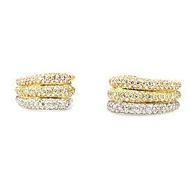 18K Three Tone Gold Gold 5.42ctw Diamond Half Hoop Earrings