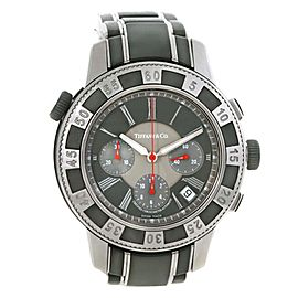 Tiffany T-57 Stainless Steel Vulcanized Rubber Chronograph Mens Watch