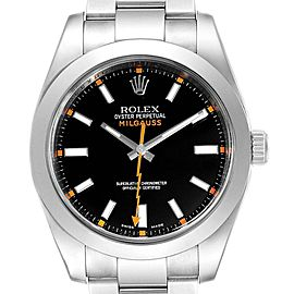 Rolex Milgauss Black Dial Domed Bezel Steel Mens Watch 116400