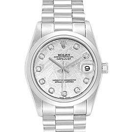 Rolex President Midsize Platinum Meteorite Diamond Ladies Watch 68279