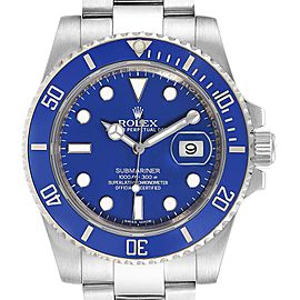 Rolex Submariner White Gold Blue Dial Ceramic Bezel Watch 116619 Box Card