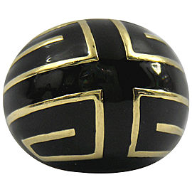 David Webb Black Enamel Gold Ring