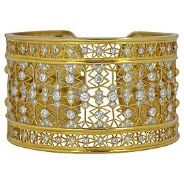 Intricate 18K Yellow Gold Wide Diamond Gold Cuff