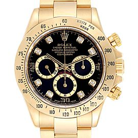Rolex Daytona Yellow Gold Diamond Dial Chronograph Mens Watch 16528