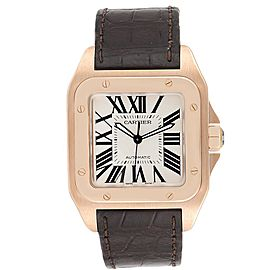 Cartier Santos 100 XL Rose Gold Silver Dial Mens Watch W20095Y1