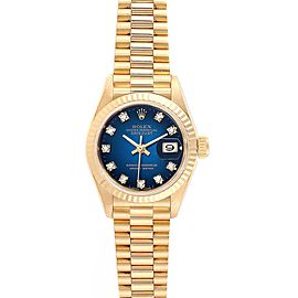 Rolex President Datejust Yellow Gold Vignette Diamond Ladies Watch 69178