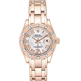 Rolex Pearlmaster Rose Gold MOP Diamond Ladies Watch 80315 Box