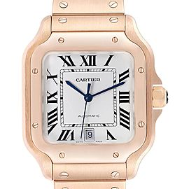 Cartier Santos 100 XL Rose Gold Silver Dial Mens Watch WGSA0007