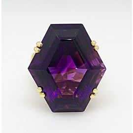 18K Yellow Gold Amethyst .38ctw Diamond Ring Size 10.25