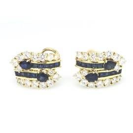 18K Yellow Gold Sapphire 2.43ctw Diamond Earrings