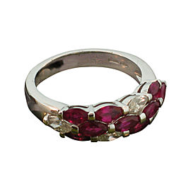 Damiani 18K White Gold Ruby & Diamond Ring