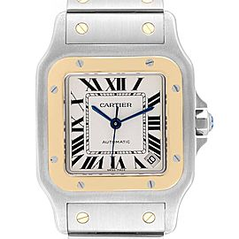 Cartier Santos Galbee XL Steel Yellow Gold Mens Watch W20099C4