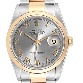 Rolex Datejust 36 Steel Yellow Gold Slate Dial Mens Watch 16203