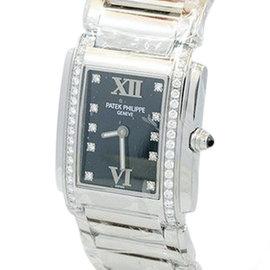 Patek Philippe Twenty-4 Diamond Black Dial Stainless Steel Womens Watch