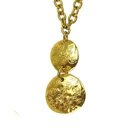 Chanel Gold Tone Metal CC Logo Coco-Mark Swing Pendant Chain Necklace