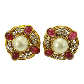 Chanel Gold Tone Metal Fake Pearl Rhinestone Earrings