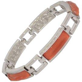 Stephen Webster 18K White Gold Quartz and Coral Link Bracelet