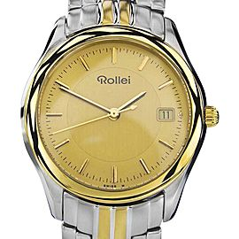Rollei Gold Plated & Stainless Steel Swiss Made Mens Watch