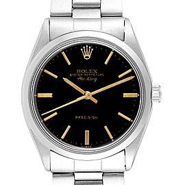 Rolex Air King Vintage Stainless Steel Black Dial Mens Watch 5500