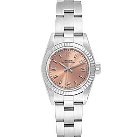 Rolex Non-Date Steel 18k White Gold Salmon Dial Ladies Watch 67194
