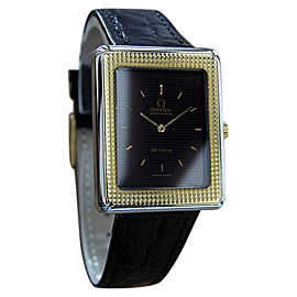 Omega DeVille Swiss Made Stainless Steel Gold Bezel Mens Watch