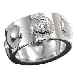 Louis Vuitton 18K White Gold & 0.01ct. Diamond Grand Berg Crew Ring Size 6.5