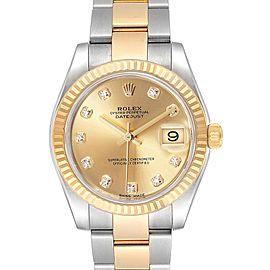 Rolex Datejust Midsize Steel Yellow Gold Diamond Ladies Watch 178273
