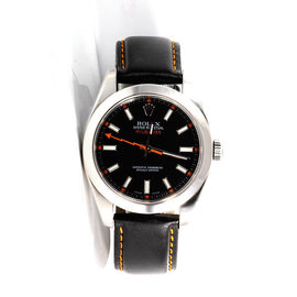 Rolex Milgauss 116400 Stainless Steel Black Dial Black Leather Strap 40mm Mens Watch