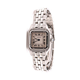 Cartier Panthere Stainless Steel w/ Roman Dial & Blue Sword Hands 22mm Womens Watch