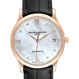 Baume Mercier Classima Rose Gold Mother of Pearl Diamond Watch 10077