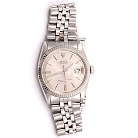 Rolex Datejust 1601 Stainless Steel & 18K White Gold Silver Stick Pie Pan Dial Vintage 36mm Mens Watch