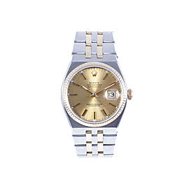 Rolex Datejust 17013 18K Yellow Gold and Stainless Steel OysterQuartz Champagne Stick Dial 36mm Unisex Watch