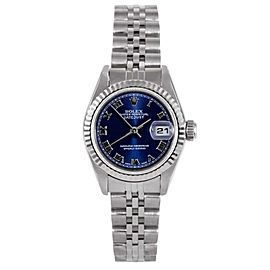Rolex Datejust 18K White Gold/Stainless Steel Blue Roman Dial Jubilee Band 26mm Womens Watch